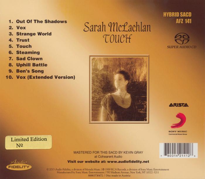 Sarah Mclachlan Touch Audio Fidelity Hybrid Sacd